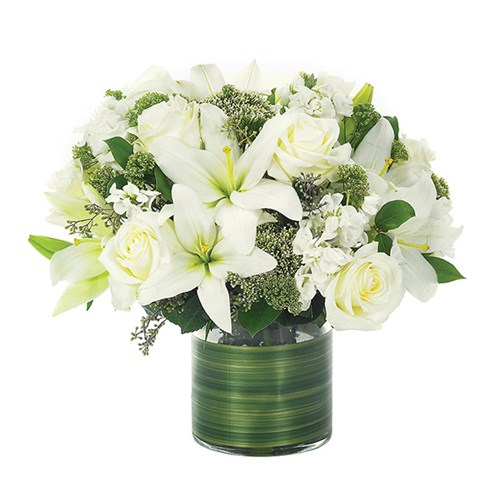 Lovely Lily & Roses Flower Bouquet - all white (BF86-11)